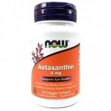 Astaxanthin 4 mg, Now, 60 капс.
